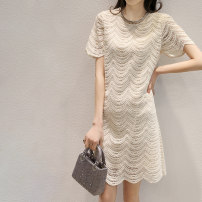 Dress Summer 2021 Off white and dark green S M L XL Middle-skirt singleton  Short sleeve commute Crew neck middle-waisted Solid color Socket A-line skirt Lotus leaf sleeve 25-29 years old Type A Green leaves Retro Hollow lace HW26Q6899 81% (inclusive) - 90% (inclusive) Lace cotton