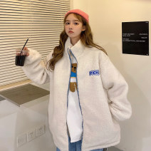Sweater / sweater Winter 2020 6440 apricot 6440 blue M L XL Long sleeves routine Cardigan singleton  Plush High collar easy commute routine letter 18-24 years old 96% and above Faqi Ni Korean version polyester fiber 173  6440 Embroidery polyester fiber Intradermal bile duct Polyester 100% zipper