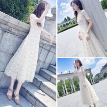 Dress Summer of 2018 Black apricot XS S M L XL Mid length dress Two piece set Short sleeve commute Crew neck High waist Dot Socket Irregular skirt routine Others 18-24 years old Type A Other / other Korean version Flocked button zipper 81% (inclusive) - 90% (inclusive)