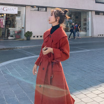 woolen coat Winter 2020 155/S 160/M 165/L 170/XL claret polyester 95% and above Medium length Long sleeves commute Single breasted routine Polo collar Solid color Straight cylinder Korean version LZB255-9090 Blue ocean Yinuo 18-24 years old Pleated pockets with stitched buttons Solid color