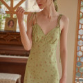 Dress Summer 2021 Green, beige XS,S,M,L longuette commute V-neck Simple Retro Retro
