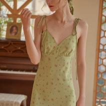 Dress Summer 2021 Green, beige XS,S,M,L longuette commute V-neck Simple Retro Retro