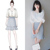 Women's large Spring 2020 White top + blue skirt white top piece blue skirt piece S M L XL Two piece set commute elbow sleeve Solid color Korean version V-neck other routine LSBM3046A-2020 Tie posture 25-29 years old 30% and below Short skirt Regenerated cellulose 80% polyamide 20%