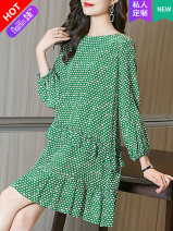 Dress Spring 2021 For more colors, please contact customer service green black 145/72/XXS 150/76/XS 155/80/S 160/84/M 165/88/L 170/92/XL Short skirt singleton  Long sleeves commute Crew neck Loose waist Dot zipper Ruffle Skirt routine 30-34 years old Type H Naixin lady Ruffle printing More than 95%