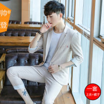 Suit Youth fashion Handsome 506 check grey 2XL thin SD507 Polyester 100% Summer of 2018 Pure e-commerce (online only)