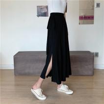 skirt Summer 2020 M,L,XL,2XL,3XL,4XL Black, gray Mid length dress Versatile High waist A-line skirt Solid color Type A 18-24 years old other other Fold, asymmetry, strap, zipper, stitching