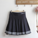 skirt Summer 2021 S,M,L Navy Blue Short skirt Sweet Natural waist A-line skirt letter Type A Under 17 51% (inclusive) - 70% (inclusive) brocade cotton Open line decoration 161g / m ^ 2 (including) - 180g / m ^ 2 (including) college
