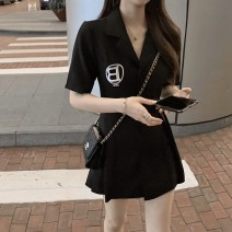 Dress Summer 2021 Graphic skirt S M L XL Short skirt singleton  Short sleeve commute V-neck High waist Solid color Socket A-line skirt routine 18-24 years old Type A Yamais / yamas Korean version Button More than 95% other Other 100% Pure e-commerce (online only)
