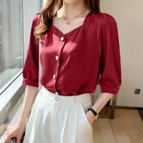 shirt Red blue white S M L XL 2XL Summer 2021 other 96% and above Long sleeves commute Regular V-neck routine Solid color 25-29 years old Straight cylinder Yamais / yamas Korean version Button Other 100% Pure e-commerce (online only)