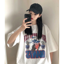 T-shirt White [multi player football] pure cotton, white [baseball] pure cotton, white pure color (short sleeve) pure cotton, black pure color (short sleeve) pure cotton, two pieces of discount 5 yuan promotion M,L,XL,2XL Summer 2021 Short sleeve Crew neck easy Regular routine commute cotton youth