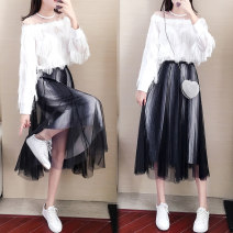 Dress Autumn of 2019 suit S M L XL Mid length dress Two piece set Long sleeves commute Crew neck Elastic waist A button A-line skirt shirt sleeve 18-24 years old Type A Get some lady Fringes and pleats F8008 More than 95% other Other 100% Exclusive payment of tmall