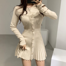 Dress Autumn of 2019 S,M,L Short skirt singleton  Long sleeves Sweet Crew neck High waist Solid color Single breasted Pleated skirt routine Others 18-24 years old Type A pocket 51% (inclusive) - 70% (inclusive) knitting cotton Ruili