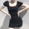 Dress Summer 2020 Black, red, crimson S,M,L Short skirt singleton  Short sleeve Sweet High waist 18-24 years old Type H HGD3647V0F 91% (inclusive) - 95% (inclusive) cotton
