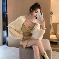 Fashion suit Spring 2021 S. M, average size Cream cardigan, taffy suspender skirt 18-25 years old