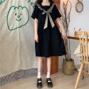 Dress Spring 2021 black S,M,L Mid length dress singleton  Short sleeve commute Admiral High waist lattice Socket A-line skirt routine Others 18-24 years old Type A Korean version Splicing 31% (inclusive) - 50% (inclusive) cotton