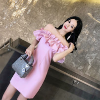 Dress Spring of 2019 Pink, Burgundy, black, white XS,S,M,L,XL Short skirt singleton  Short sleeve commute High waist zipper One pace skirt Petal sleeve Breast wrapping 18-24 years old Type H Korean version Open back, fold 31% (inclusive) - 50% (inclusive) Chiffon cotton