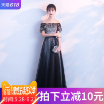 Dress / evening wear Weddings, adult gatherings, company annual meetings, daily appointments Smlxlxxlxxl customized non return and exchange (contact customer service for customization fee) Black dress Korean version longuette middle-waisted Summer of 2018 Self cultivation One shoulder Bandage flower