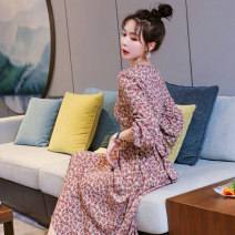 Dress Summer 2021 Decor S,M,L Mid length dress singleton  Long sleeves commute Crew neck High waist Decor Single breasted Irregular skirt routine Others 25-29 years old Type A Other / other printing 91% (inclusive) - 95% (inclusive) Chiffon polyester fiber