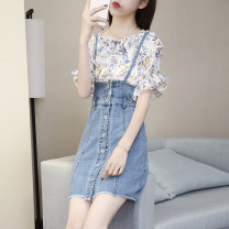 Fashion suit Summer 2020 S M L XL Single blue strap denim skirt white two piece set for bra 18-25 years old Kangmei GD 3F 317-B#2009##60KM_ ftCA6 Other 100%