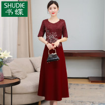 Dress Summer 2021 claret M L XL 2XL 3XL Mid length dress singleton  Short sleeve commute Crew neck middle-waisted Decor Socket A-line skirt routine Others 40-49 years old Type A Book Butterfly Korean version Three dimensional decorative nail beads inlaid with diamond SDA20NRJ5416 More than 95% other