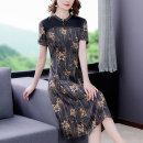 Dress Summer 2021 Brown M L XL 2XL 3XL 4XL Mid length dress singleton  Short sleeve commute stand collar middle-waisted Decor zipper A-line skirt routine Others 40-49 years old Type A Book Butterfly ethnic style Multi dimensional decorative printing SDA50NRJ9523 More than 95% other other Other 100%