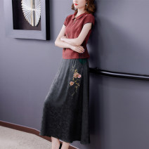 Dress Summer 2021 Green jujube L XL 2XL 3XL 4XL Mid length dress Two piece set Short sleeve commute Polo collar middle-waisted Solid color zipper A-line skirt routine Others 40-49 years old Type A Book Butterfly ethnic style Embroidery SDB09NRJ8717 More than 95% other other Other 100%