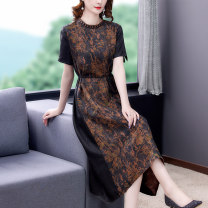 Dress Summer 2021 Picture color M L XL 2XL 3XL 4XL 5XL Mid length dress singleton  Short sleeve commute stand collar middle-waisted Decor zipper A-line skirt routine Others 40-49 years old Type A Book Butterfly Korean version Three dimensional decorative printing with lace up SDB29NRJ5203 other silk