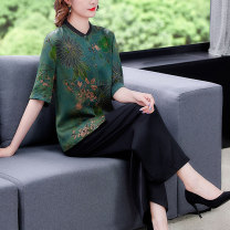Women's large Summer 2021 Green purple L XL 2XL 3XL 4XL Other oversize styles Two piece set commute Self cultivation thin Cardigan Short sleeve Decor ethnic style stand collar routine other printing and dyeing routine SDA04NRJ5038 Book Butterfly 40-49 years old Three dimensional decoration trousers