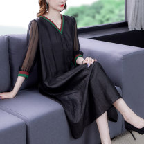 Dress Summer 2021 black M L XL 2XL 3XL 4XL Mid length dress singleton  Short sleeve commute V-neck middle-waisted Solid color zipper A-line skirt routine Others 40-49 years old Type A Book Butterfly Korean version Splicing SDE220NRJ8547 71% (inclusive) - 80% (inclusive) other silk Silk 80% others 20%
