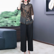 Women's large Summer 2021 Decor L XL 2XL 3XL 4XL Other oversize styles Two piece set commute Self cultivation thin Cardigan Short sleeve Decor Korean version Crew neck routine other printing and dyeing routine SDB01NRJ2966 Book Butterfly 40-49 years old Three dimensional decoration trousers