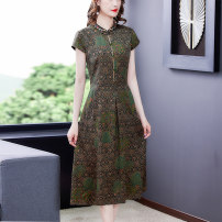 Dress Summer 2021 Picture color M L XL 2XL 3XL 4XL Mid length dress singleton  Short sleeve commute stand collar middle-waisted Decor zipper A-line skirt routine Others 40-49 years old Type A Book Butterfly ethnic style printing SDA50NRJ9522 71% (inclusive) - 80% (inclusive) other silk