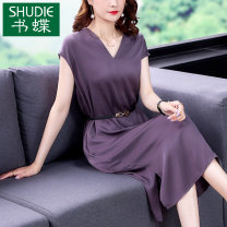 Dress Summer 2021 violet M L XL 2XL 3XL Mid length dress singleton  Sleeveless commute V-neck middle-waisted Solid color zipper A-line skirt routine Others 40-49 years old Type A Book Butterfly Korean version Three dimensional lace up decoration SDB02NRJ9230 More than 95% other other Other 100%