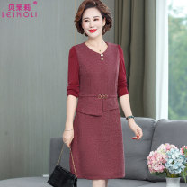 Middle aged and old women's wear Autumn 2020 Red Navy noble Dress easy singleton  Solid color 40-49 years old Socket moderate V-neck Medium length routine A0430 Berberine belt polyester Other polyester 95% 5% 91% (inclusive) - 95% (inclusive) Pure e-commerce (online only) Medium length Polyester
