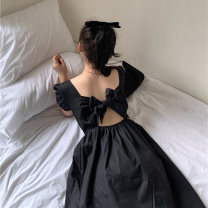 Women's large Summer 2021 black Large L, large XL, s, M Dress singleton  commute moderate Socket Short sleeve Korean version BL7370 25-29 years old 96% and above Medium length
