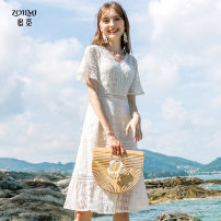 Dress Summer of 2019 white S,M,L,XL Middle-skirt singleton  Short sleeve commute V-neck middle-waisted other zipper Pleated skirt pagoda sleeve Others 30-34 years old Zoilmi / chase Simplicity More than 95% polyester fiber