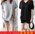 Women's large Summer of 2019 Black suit [high quality fabric], gray suit [high quality fabric], gray [ordinary version] XL suggests 120-145 kg, XXL 145-165 kg, XXL 170-200 kg Other oversize styles Two piece set commute easy moderate Socket Short sleeve Solid color Korean version V-neck routine pocket