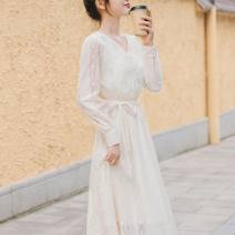 Dress Summer 2021 white S,M,L,XL Mid length dress singleton  Short sleeve commute V-neck Princess Dress routine Type A Other / other Korean version 7614K168 30% and below other