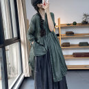 Dress Spring 2021 Average size Mid length dress singleton  three quarter sleeve commute stand collar Loose waist Solid color Single breasted A-line skirt routine Hanging neck style Type A Retro More than 95% hemp