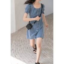 Dress Summer 2021 blue S,M,L Middle-skirt singleton  Short sleeve commute square neck High waist Solid color Single breasted A-line skirt routine Others Type A Korean version 81% (inclusive) - 90% (inclusive) Denim