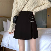 skirt Winter 2020 S,M,L,XL,2XL,3XL,4XL Black, black summer Short skirt commute High waist Irregular Solid color Type A 31% (inclusive) - 50% (inclusive) other polyester fiber Asymmetric, zipper Korean version