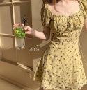 Dress Summer 2020 Picture color, white vest S,M,L,XL,2XL,3XL singleton  commute square neck High waist Broken flowers Retro