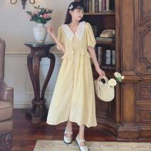 Women's large Summer 2021 yellow Average size Dress singleton  Sweet Self cultivation Socket Short sleeve V-neck puff sleeve Q1115120 Medium length