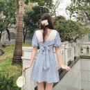 Women's large Summer 2021 Decor S, M Dress Sweet Self cultivation Socket Short sleeve Decor square neck Q1118005 Short skirt other college