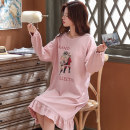 Pajamas / housewear set female Other / other M,L,XL,XXL,XXXL cotton Long sleeves Sweet pajamas winter routine Crew neck Cartoon animation Socket youth 2 pieces 81% (inclusive) - 95% (inclusive) pure cotton printing 200g Middle-skirt