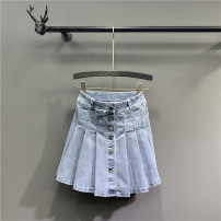 skirt Summer 2021 S,M,L,XL,2XL wathet Short skirt commute High waist A-line skirt Solid color Type A Denim cotton Pockets, rags, buttons Korean version