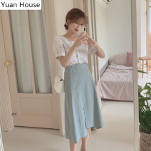 skirt Summer 2020 S,M,L,XL White shirt + blue skirt Mid length dress Versatile High waist A-line skirt Solid color Type A 18-24 years old 31% (inclusive) - 50% (inclusive)