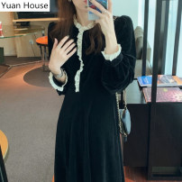 Dress Spring 2021 black S,M,L Mid length dress singleton  Long sleeves commute Half high collar High waist Solid color Single breasted Big swing puff sleeve Others 18-24 years old Type A Korean version