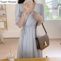 Dress Summer 2020 Blue, Khaki S,M,L Mid length dress singleton  Short sleeve commute Doll Collar High waist Solid color other Irregular skirt puff sleeve Others Type A Other / other Korean version 51% (inclusive) - 70% (inclusive) Chiffon polyester fiber