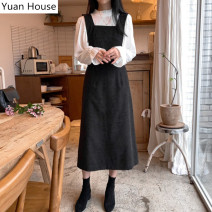 Dress Winter 2020 White shirt, black strap skirt, white shirt + black strap skirt S,M,L,XL Mid length dress Two piece set Long sleeves commute square neck High waist Solid color zipper A-line skirt straps 18-24 years old Type A Korean version Open back, strap, zipper, stitching corduroy cotton