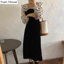 Dress Winter 2020 black S,M,L Mid length dress singleton  Long sleeves commute V-neck High waist Dot Single breasted A-line skirt routine 18-24 years old Type A Korean version Button polyester fiber